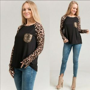 Tops - 🖤ONLY ONE LEFT!! SPOT ON LEOPARD SLEEVE TOP🖤